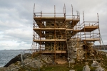 South face of Carrickabraghy Castle with scaffolding